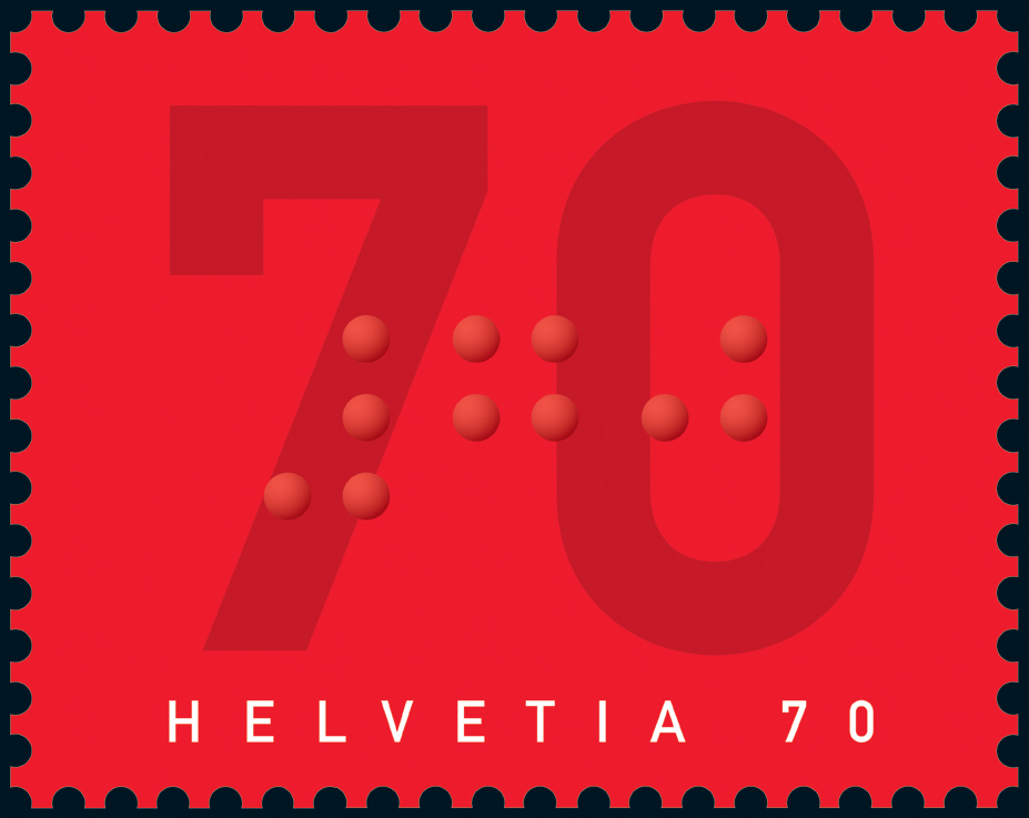single postage stamp with embossed braille