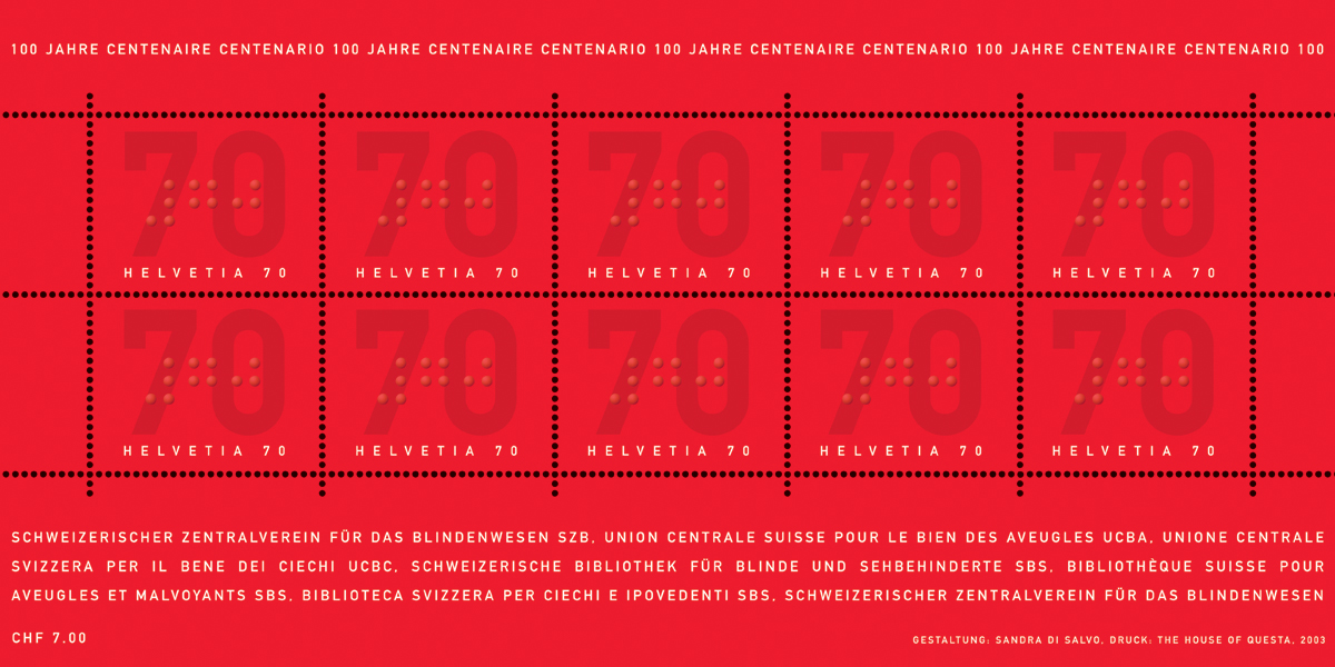 sheetlet of 10 stamps with braille embossing