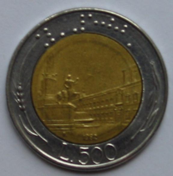 Itaalia 500-liirine münt (braille.ch)